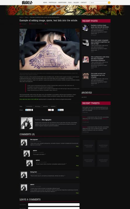 Tattoos/Portfolio WordPress Theme - TattooPortfolio - Details