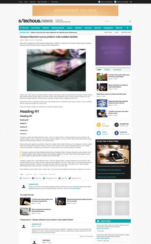 Technology Magazine WordPress Theme - TechMag - Details