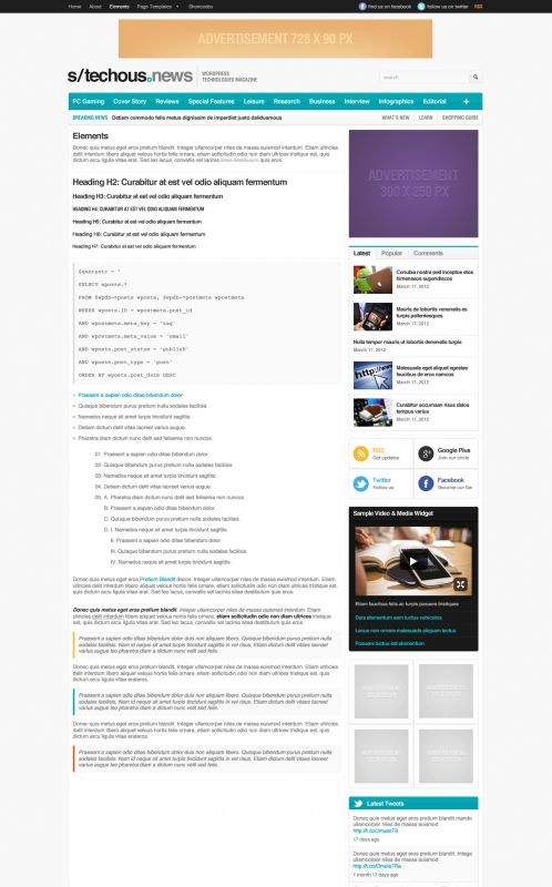 Technology Magazine WordPress Theme - TechMag - Typography