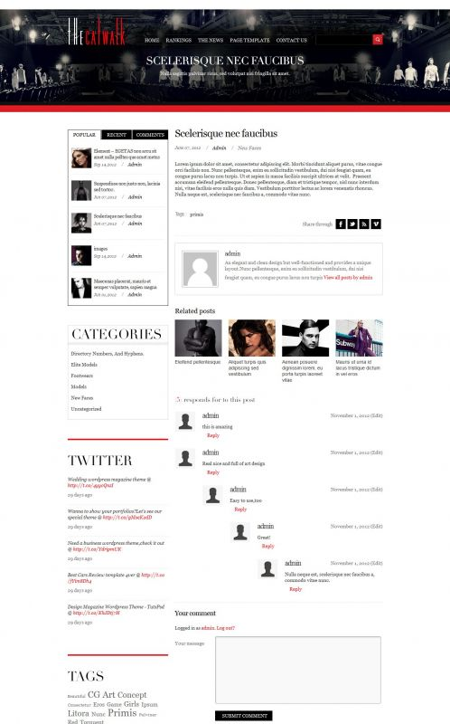 Fashion/Portfolio WordPress Theme - TheCatwalk - Details