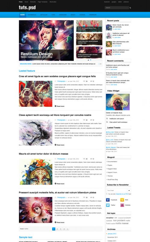 Design Magazine Wordpress Theme - TutsPsd - Home