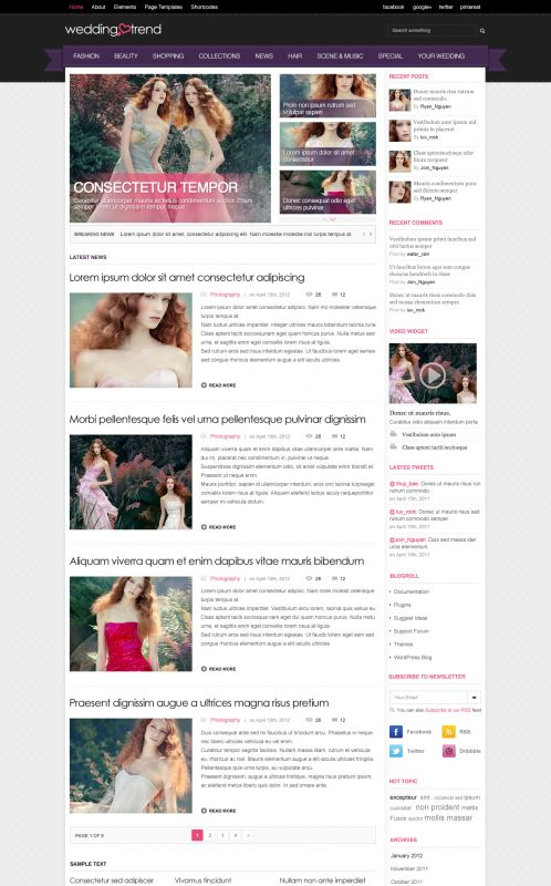 Wedding Magazine Wordpress Theme - Weddings - Home