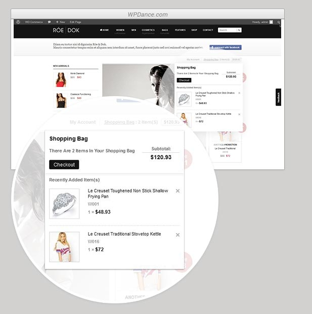 Dropdown Shopping Cart